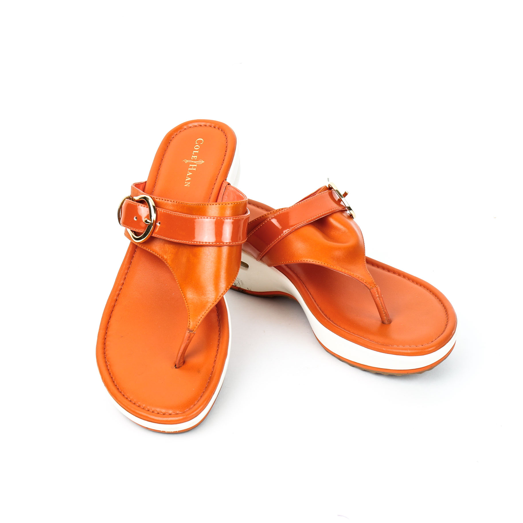 Cole Orange Sandals 9 Haan With Tone BucklesSize Gold 5b 2EIDH9YW