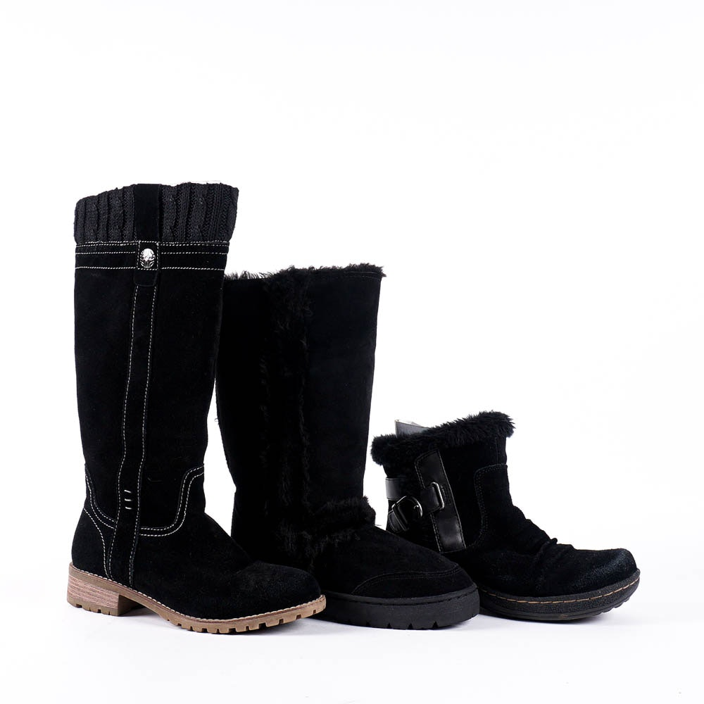 s black faux fur lined leather boots ebth