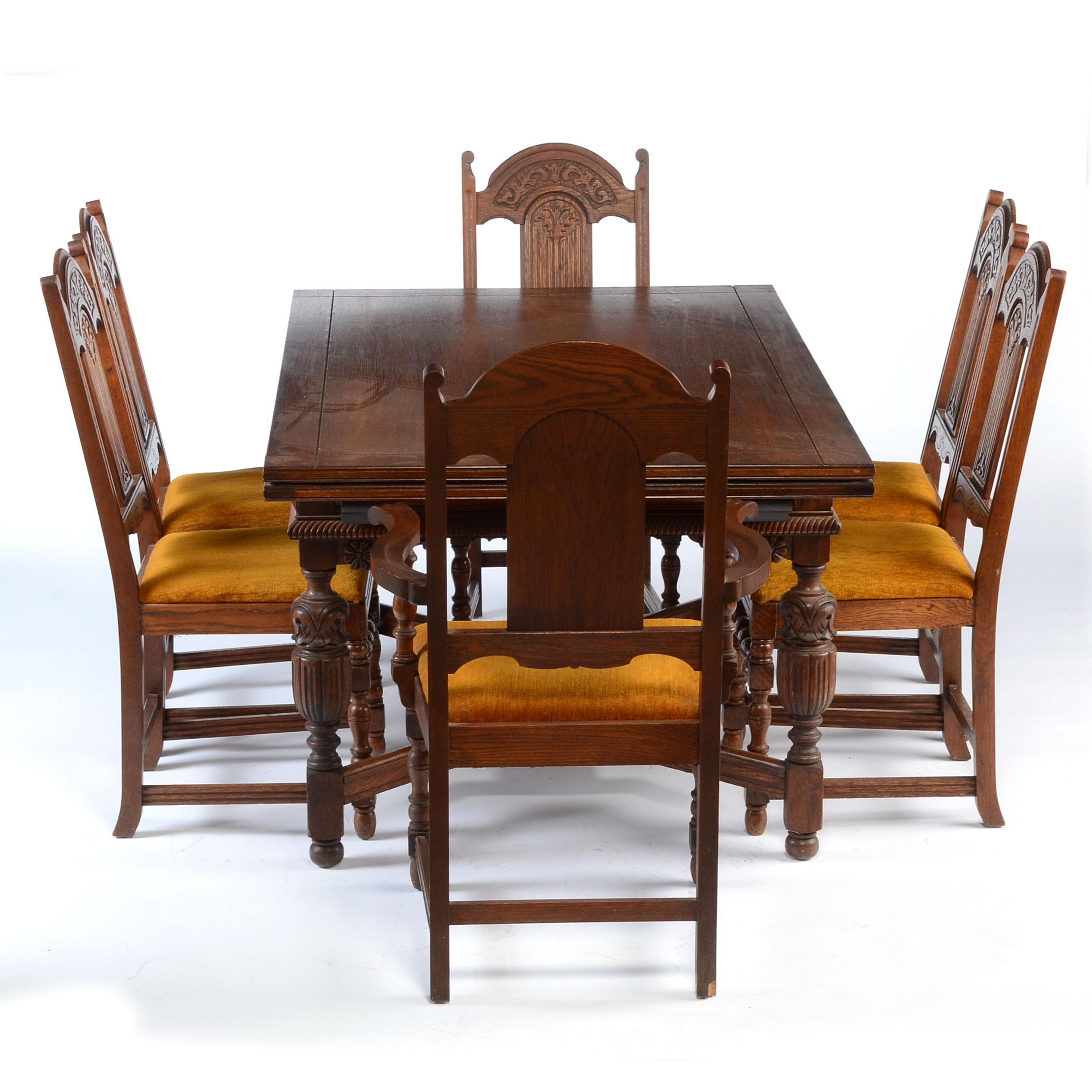 1920s English Tudor Revival Dining Furniture ...