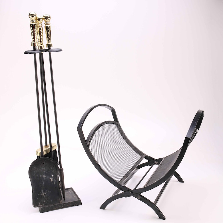 Solid Brass Fireplace Tool Set With Hunting Motif Ebth