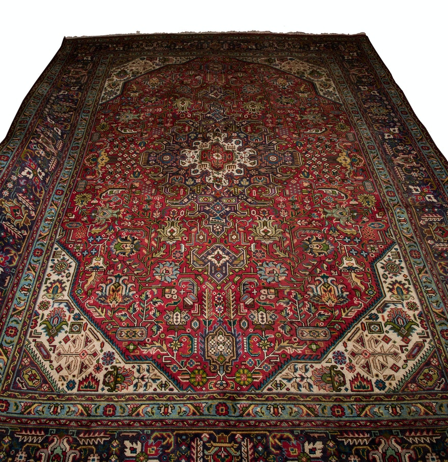 Hand Knotted Indo Persian Obeetee Wool Area Rug Ebth: Large Hand Knotted Indo-Persian Area Rug : EBTH
