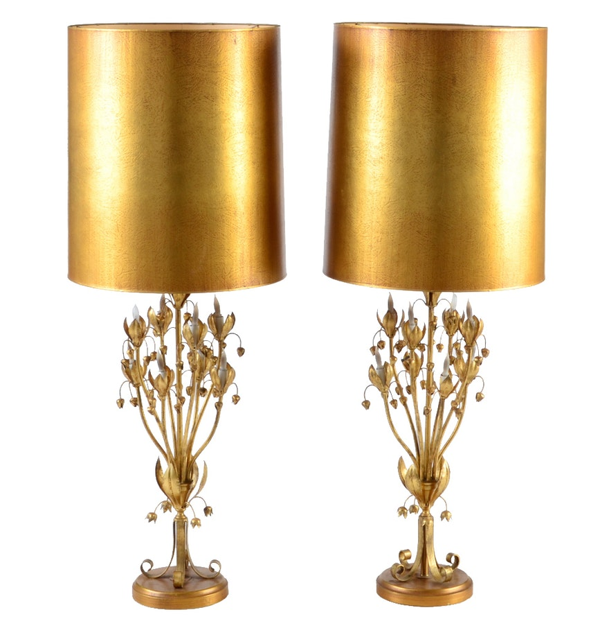 pair of large mid century italian gilt metal lamps with. Black Bedroom Furniture Sets. Home Design Ideas
