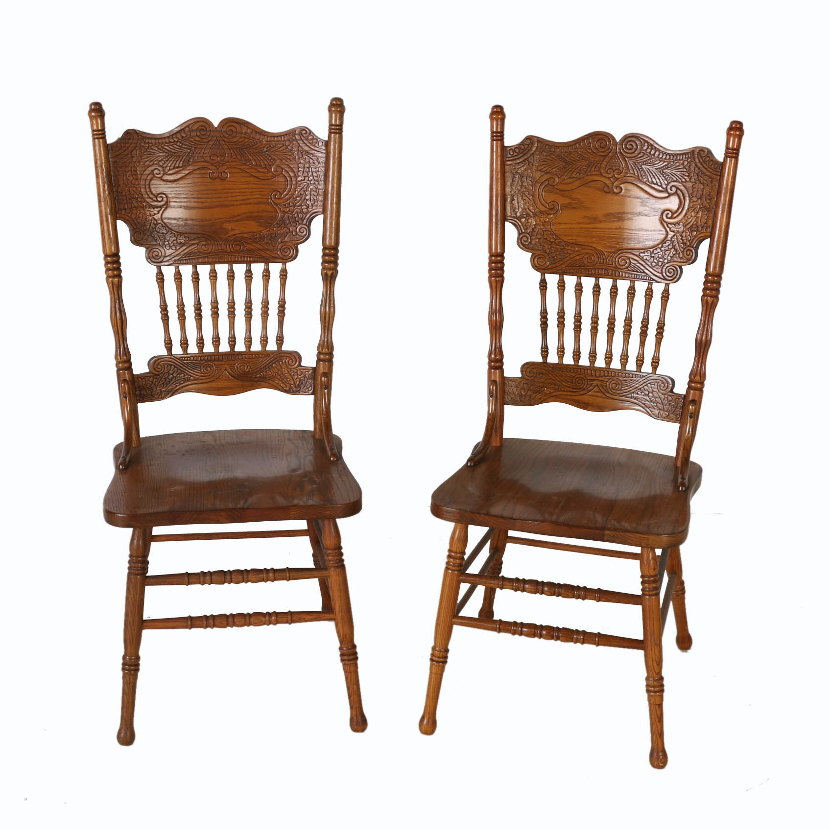 circa pressed back oak dining chairs