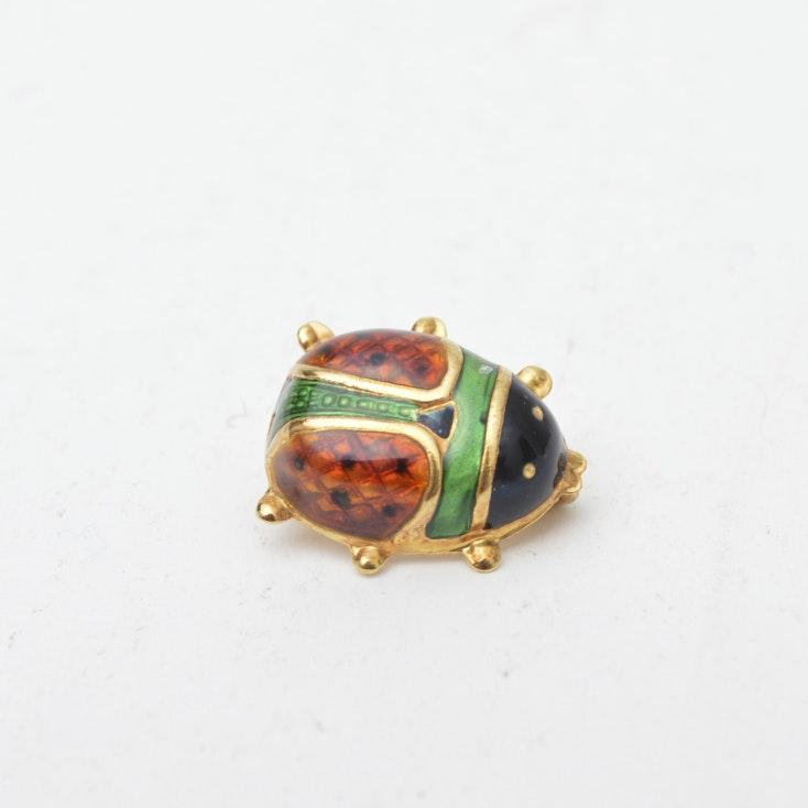 18K Gold Enamel Ladybug Brooch ...