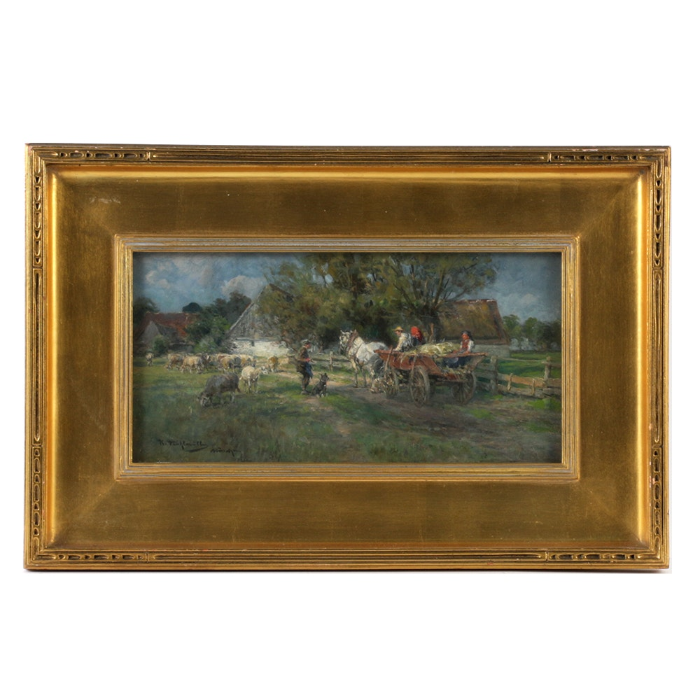 Pastoral Oil Painting on Board by Karl Stuhlmuller