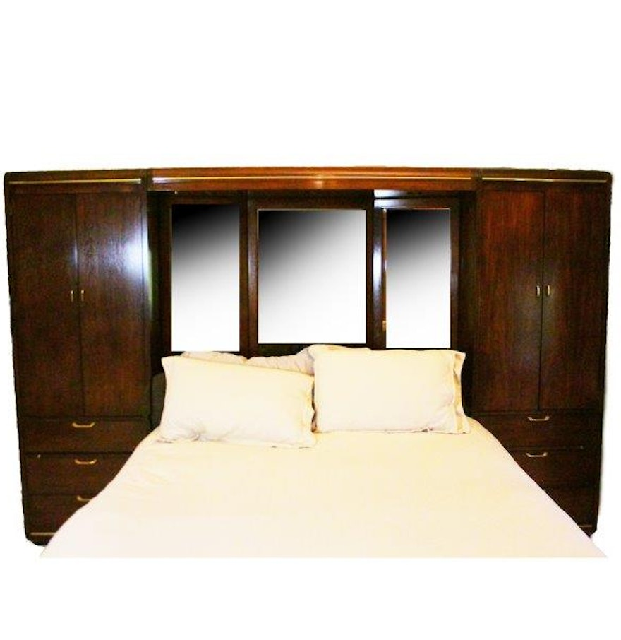 Thomasville Queen Size Bed Frame With Cabinets And Drawers