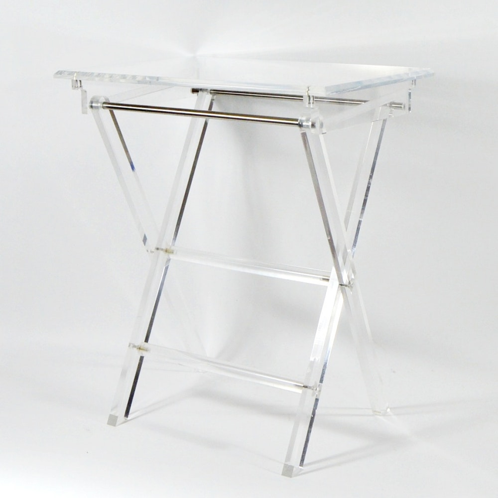Pair Of Foldable Ghost Tables With Stand ...