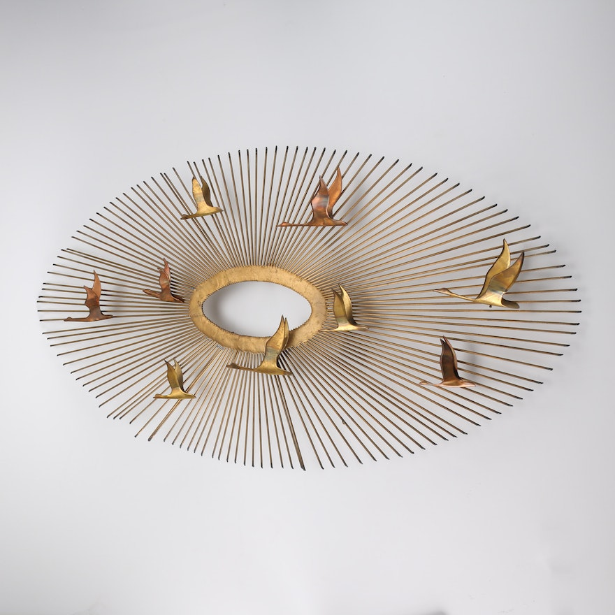 Curtis Jere Style Gold Tone Metal and Copper Sunburst Wall Art : EBTH