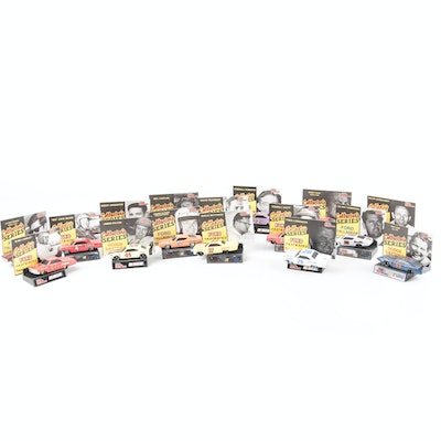 Racing Champions Collectors Series Die Cast Cars,  Stands and Trading Cards