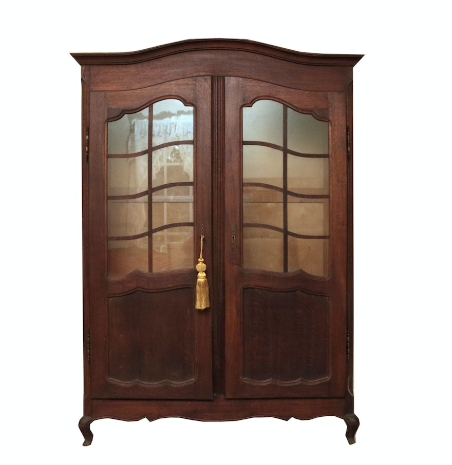 Wooden China Cabinet ~ Vintage wooden china cabinet with glass doors ebth
