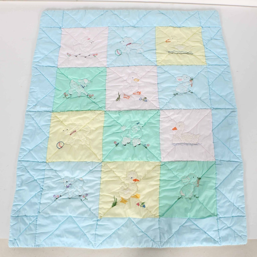 Hand Embroidered Baby Quilt Ebth