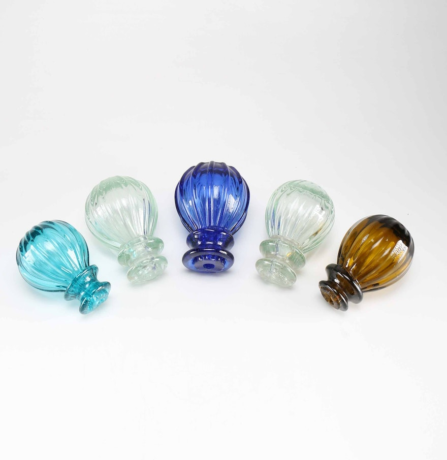 Collection of Five Colorful Blown Glass Door Knobs : EBTH