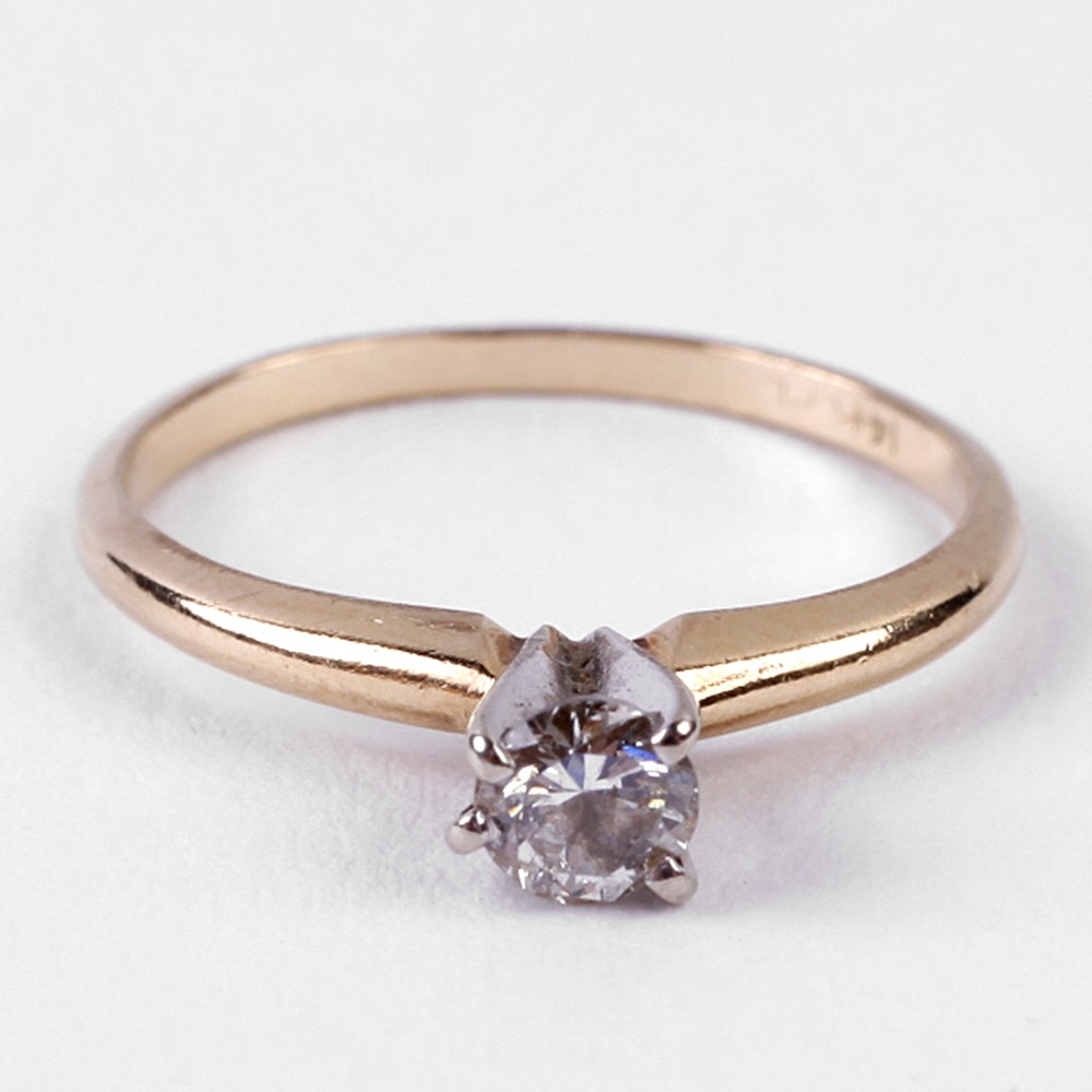 Yellow Gold Diamond Platinum: 14K Yellow Gold And Platinum Diamond Ring : EBTH