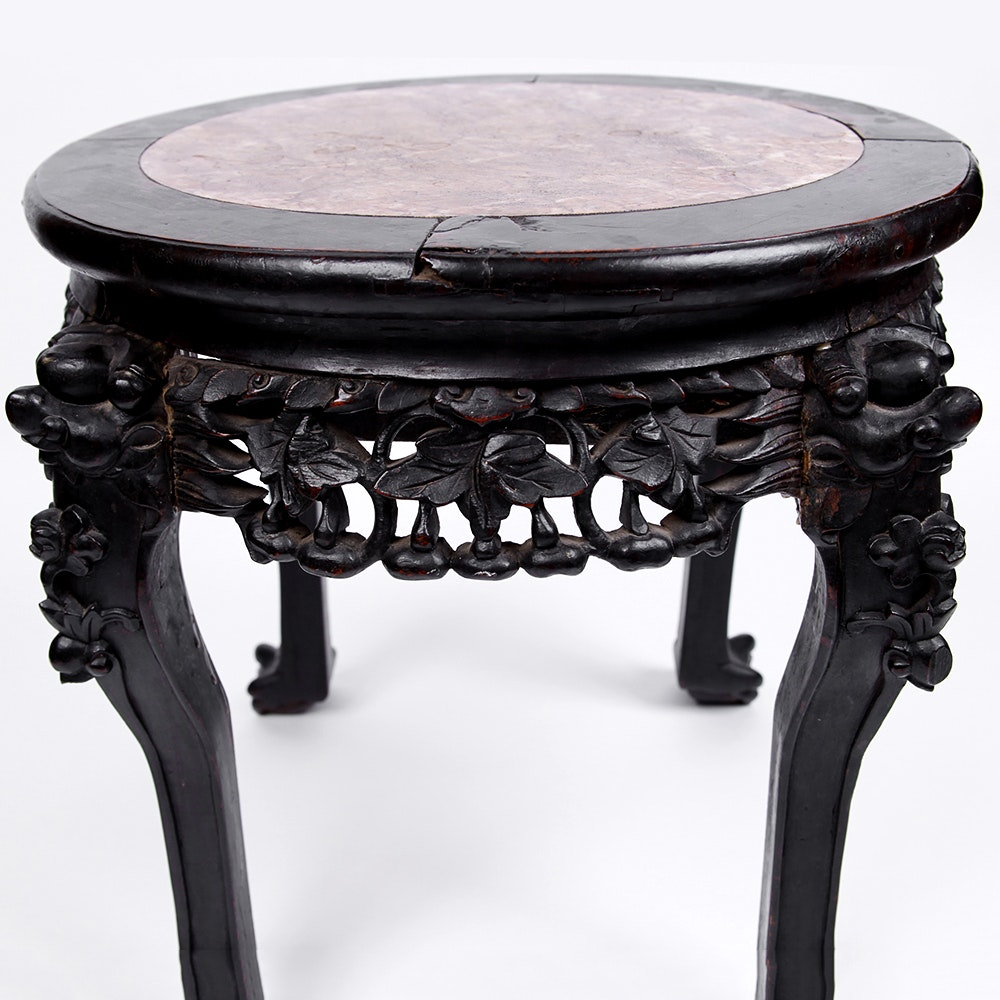 Marble And Carved Wood Accent Table