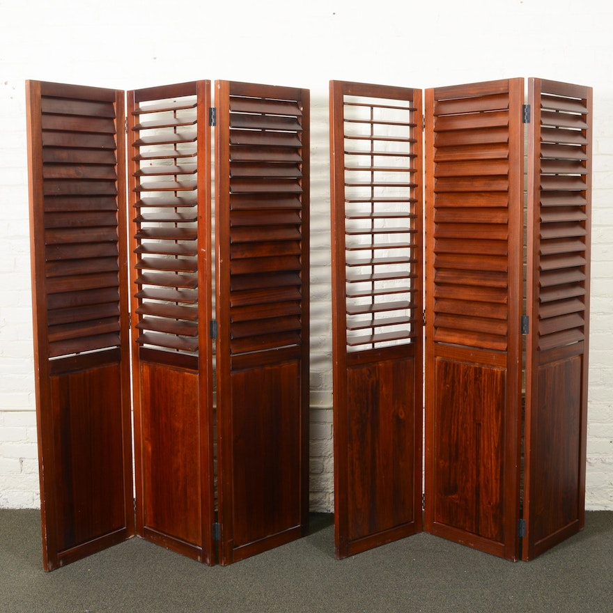 Two Wood Shutter Room Divider Screens