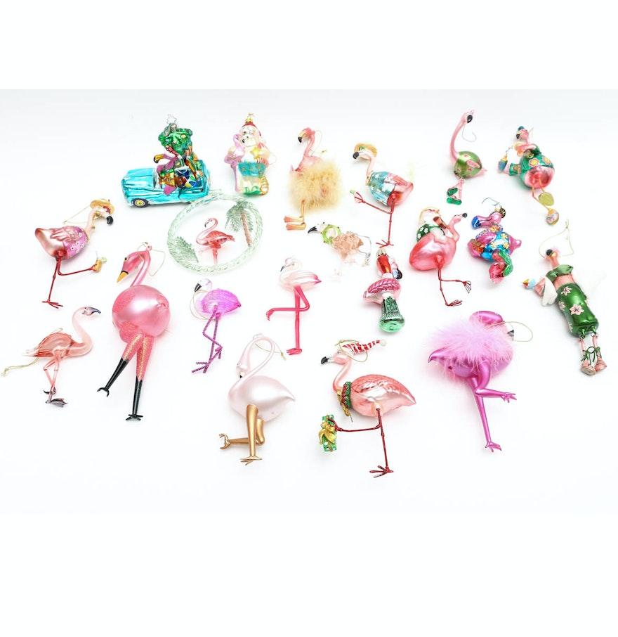 Flamingo Christmas Decorations: Collection Of Glass Flamingo Christmas Tree Ornaments : EBTH