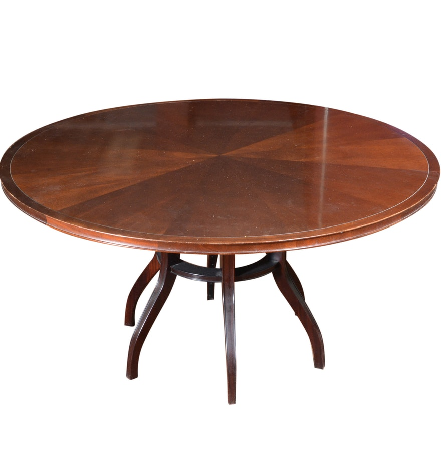 large round 39 baker furniture 39 wood table ebth