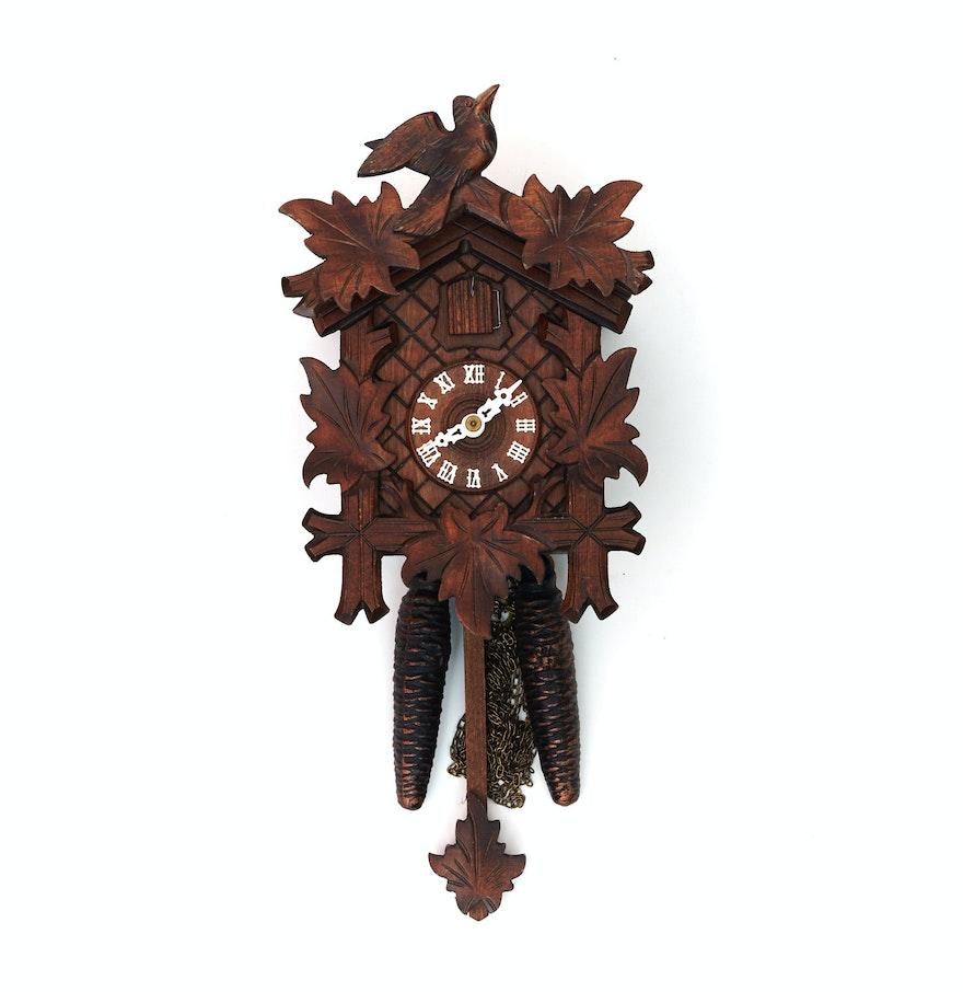 Wooden west german cuckoo clock ebth - Wooden cuckoo clocks ...