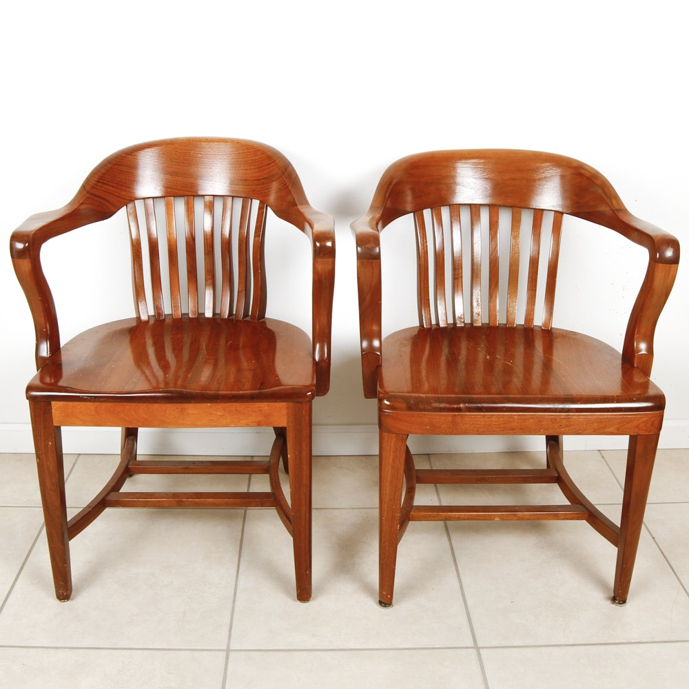 Pair Of Vintage Taylor Chair Co. Oak Library Chairs ...