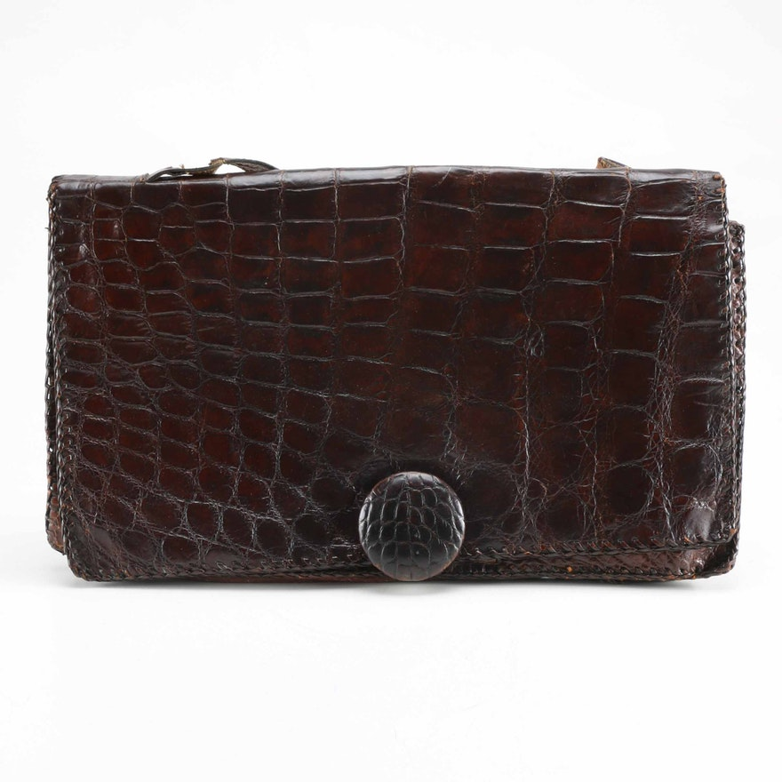 Vintage Alligator Clutch Purse