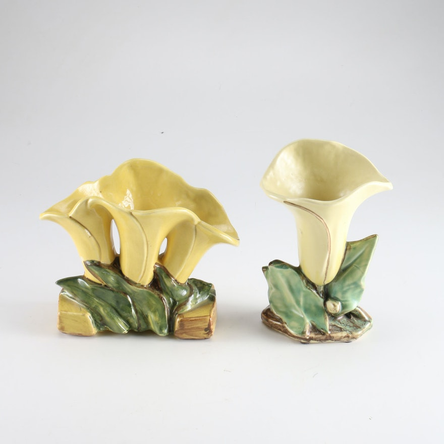 Pair Of Mccoy Pottery Lily Vases Ebth