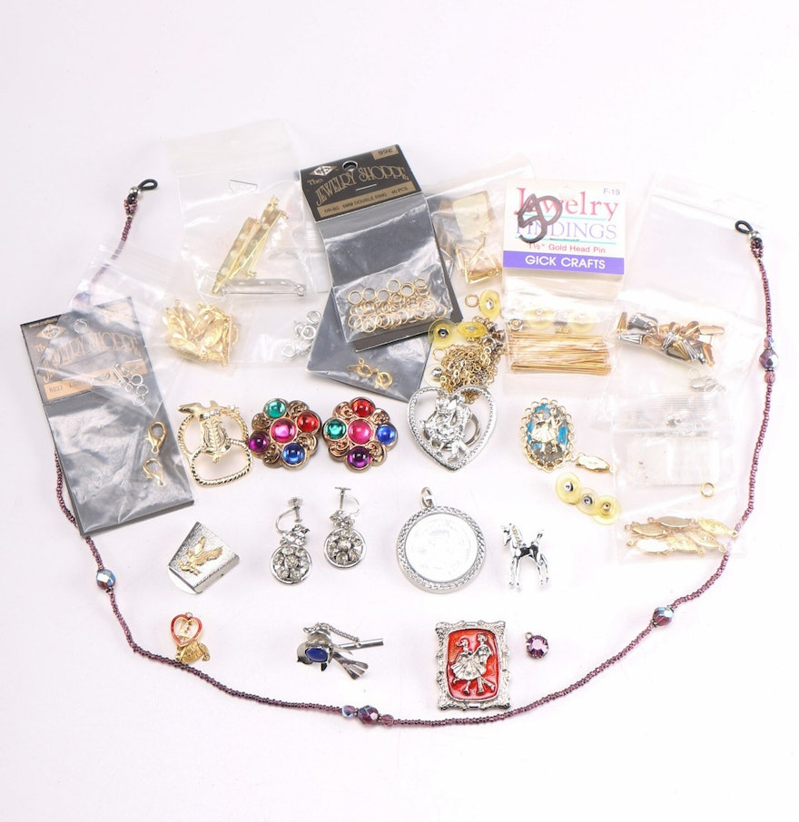 Assortment of costume jewelry and jewelry making supplies for Earring supplies for jewelry making
