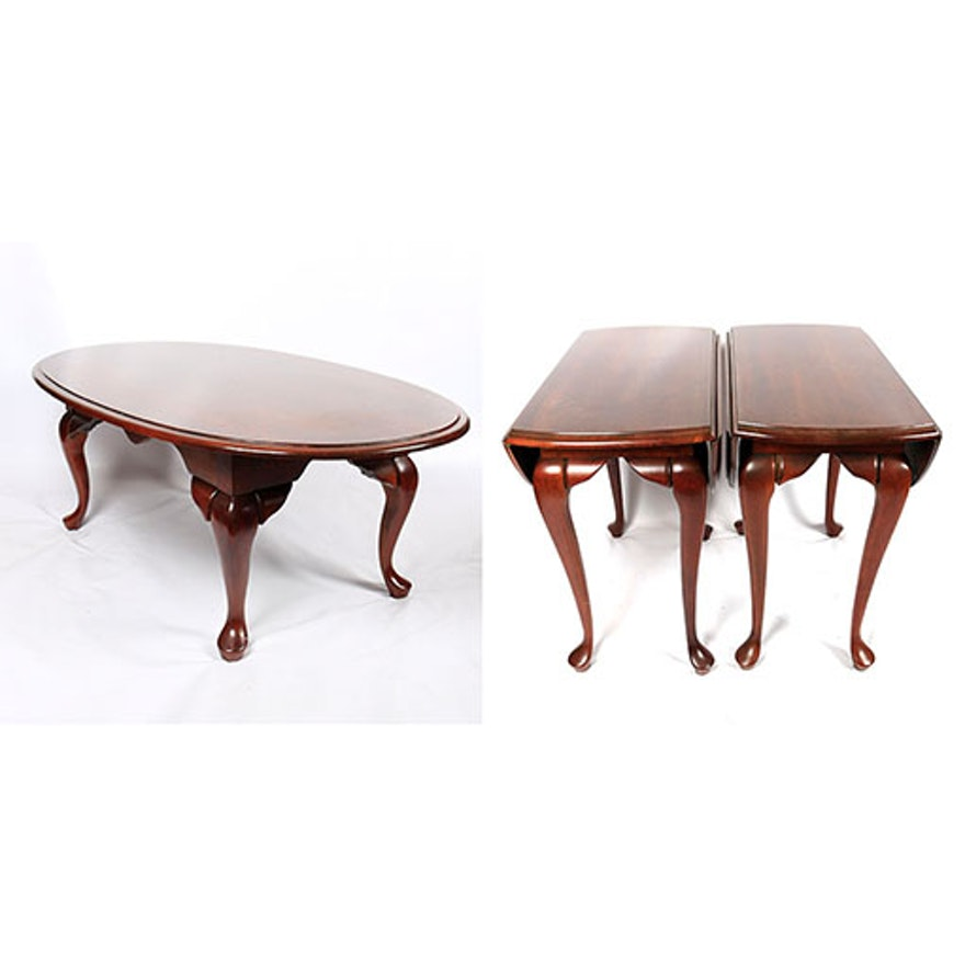 Queen Anne Style Drop Leaf Side Tables And Coffee Table Ebth