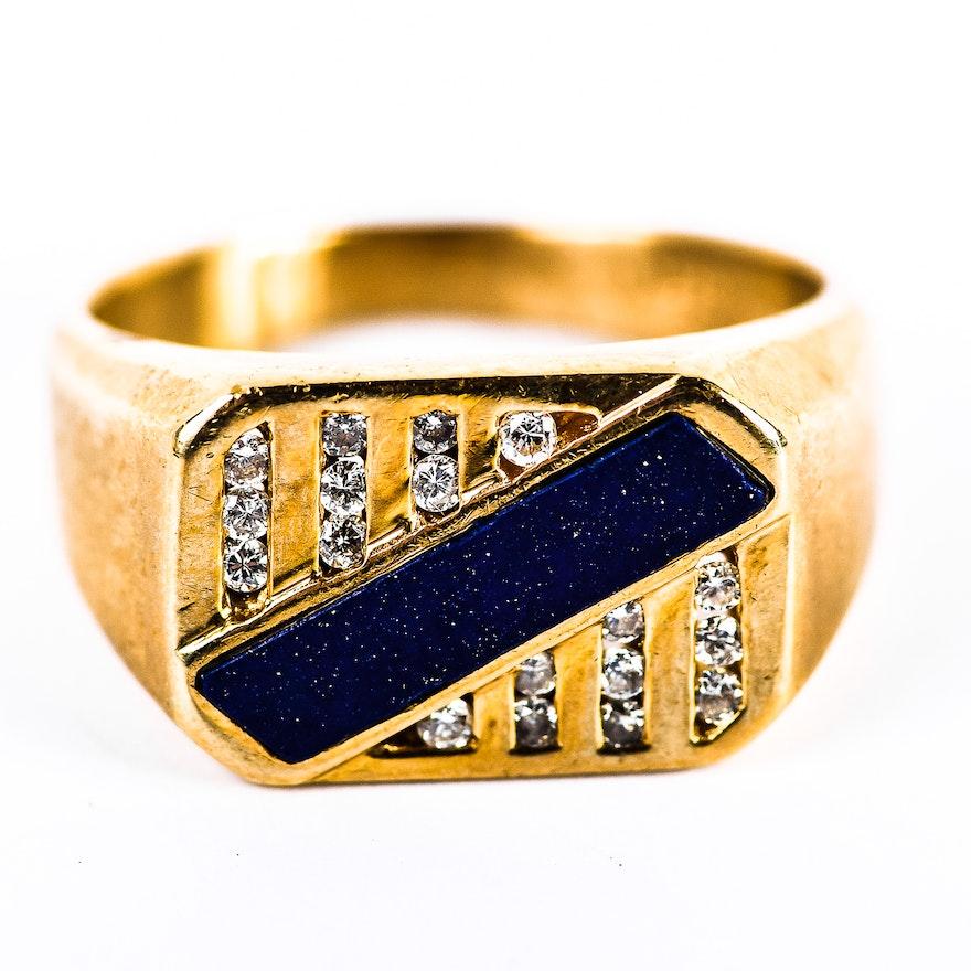 54f65387ddd77 Vintage 14K Yellow Gold, Lapis Lazuli, and Diamond Men's Ring