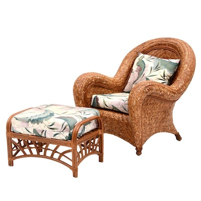 Papasan Rattan Swivel Rocker And Ottoman Ebth