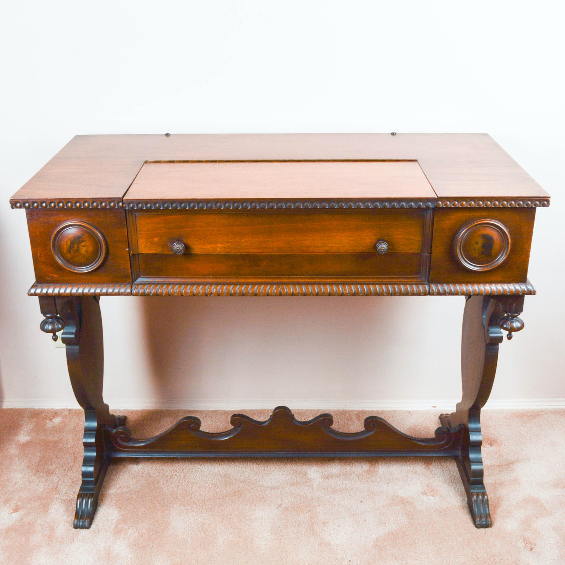 Antique Mahogany Trestle Base Spinet Desk Ebth