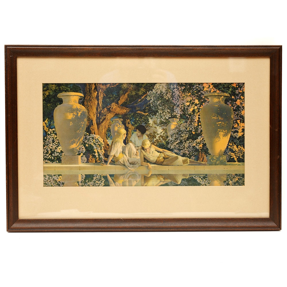 """Maxfield Parrish Offset Lithograph """"The Garden of Allah"""""""