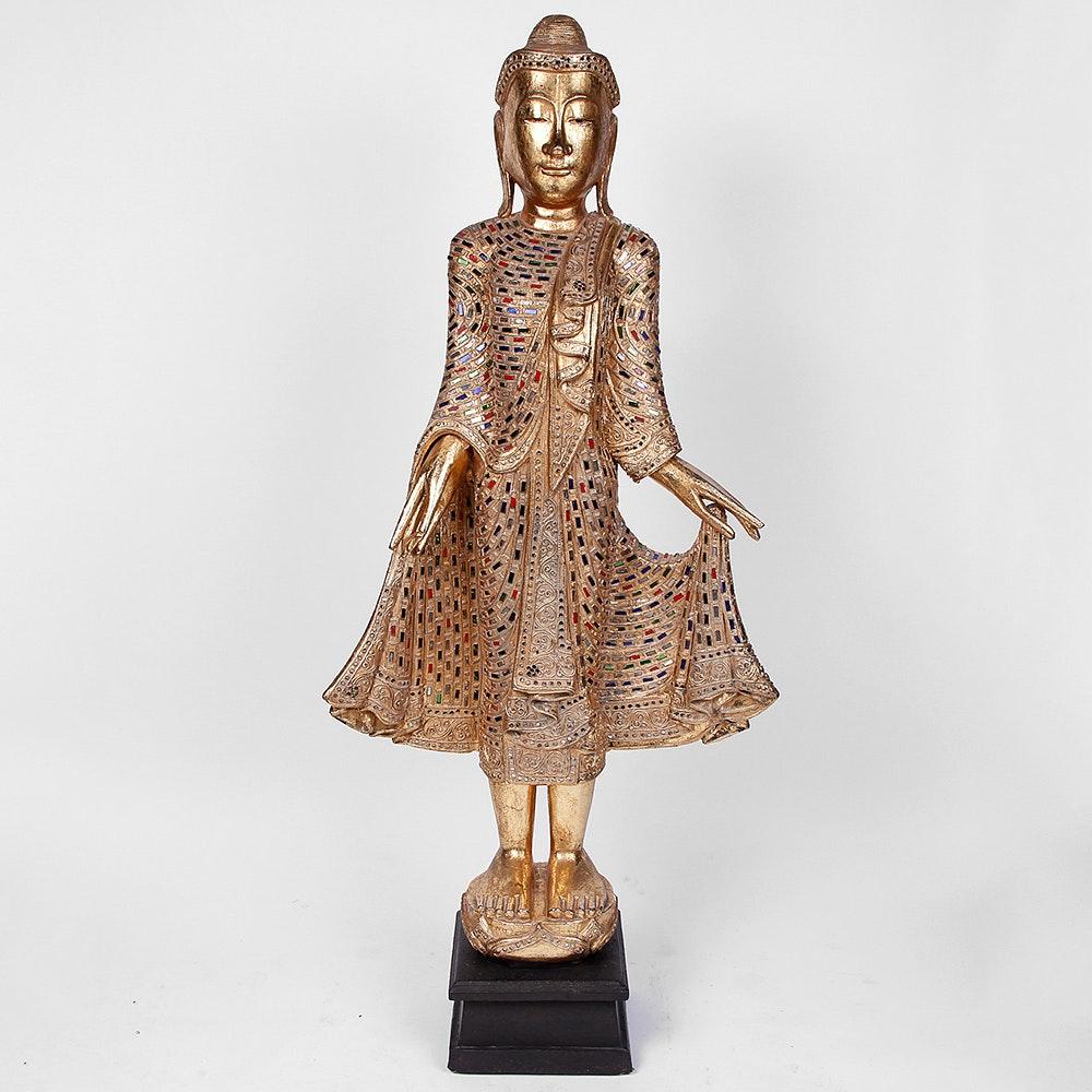 Southeast Asian Wooden Buddha Sculpture