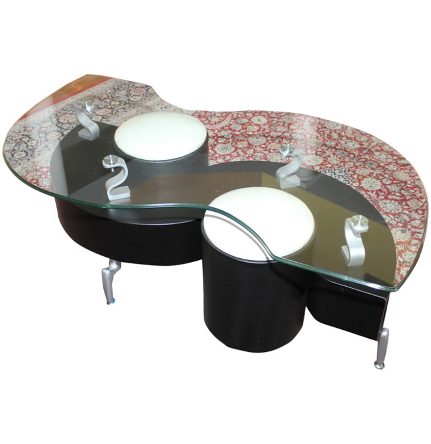 Contemporary Glass Coffee Table With Stools : EBTH