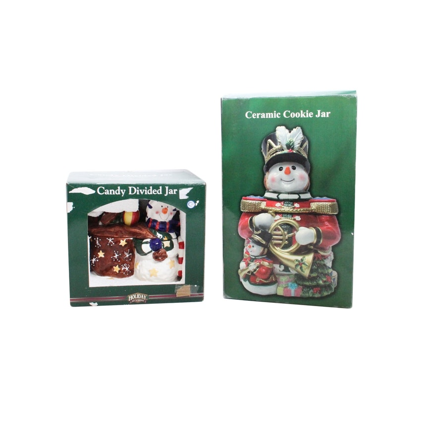hand painted christmas candy and cookie jars - Christmas Candy Jars