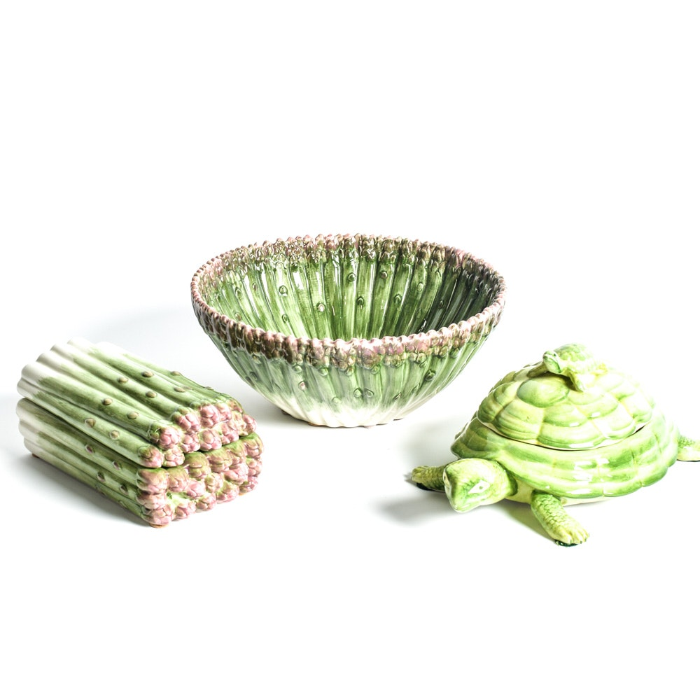 Amen Wardy fitz & floyd asparagus bowl and dish with amen wardy turtle dish