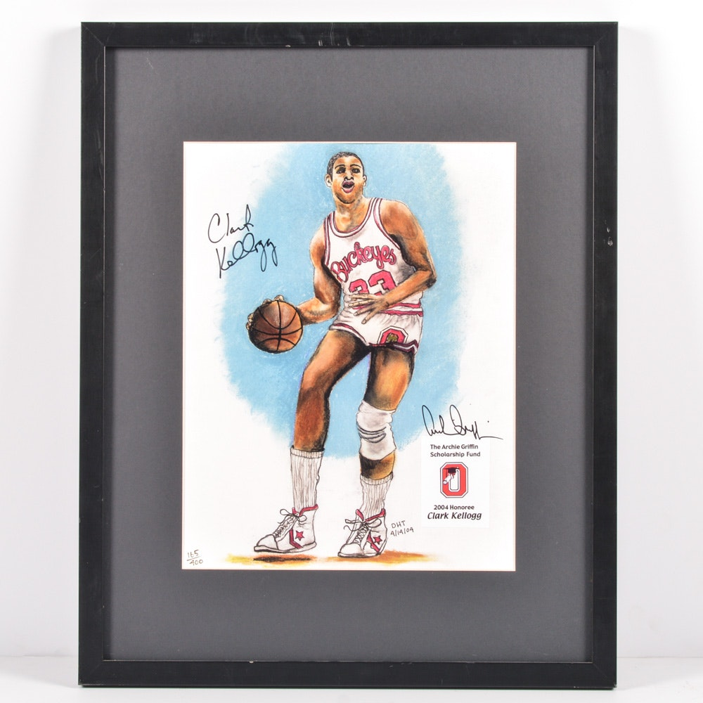 Autographed Archie Griffin and Clark Kellogg Ohio State Buckeyes