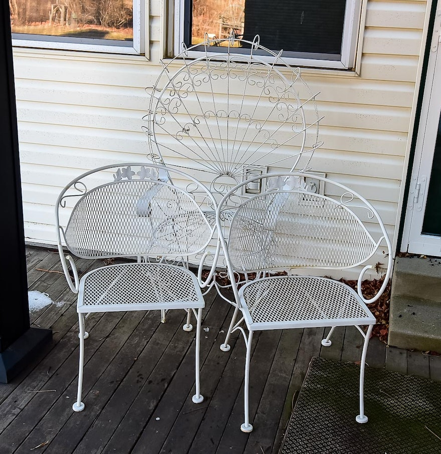 White Metal Patio Chairs Ebth