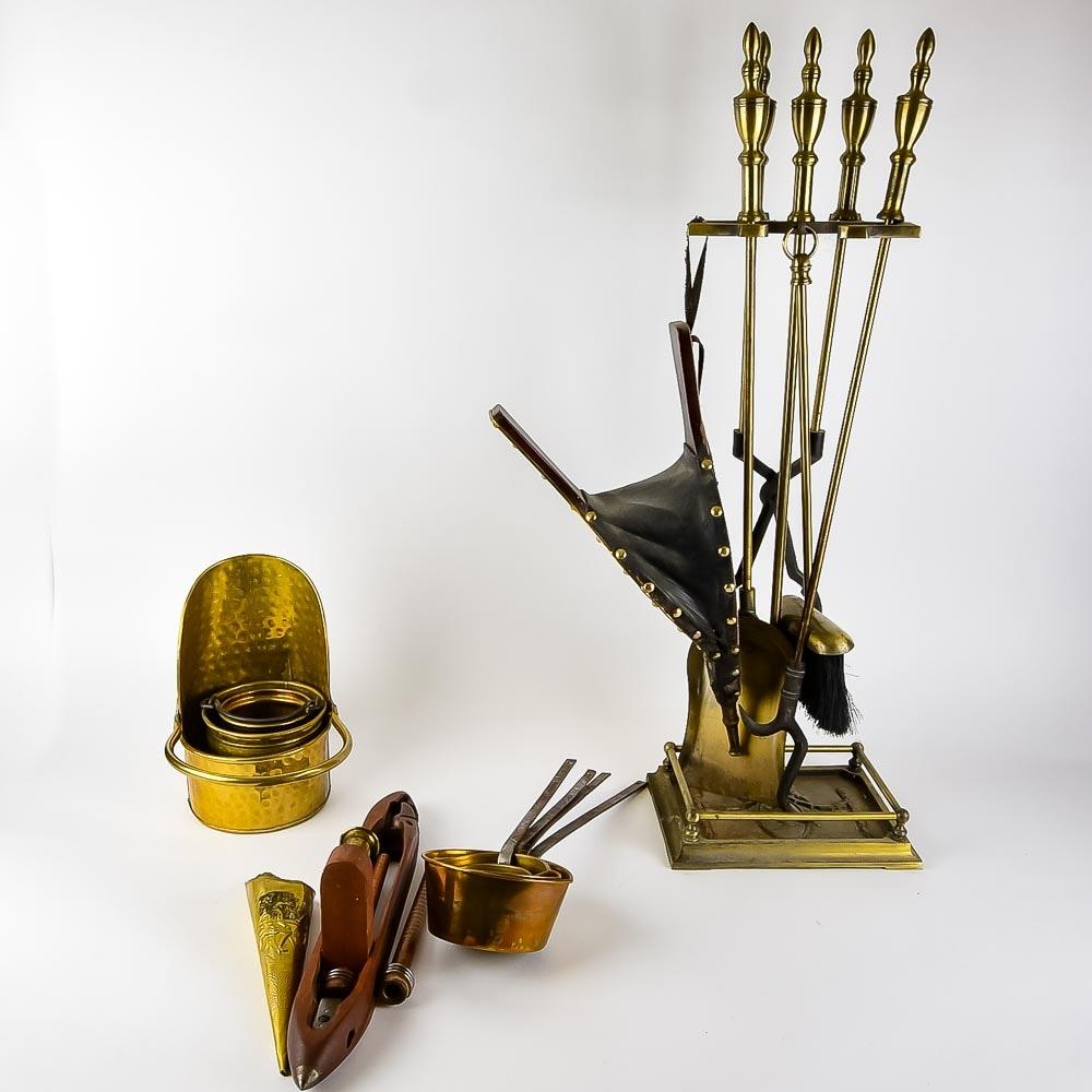 Collection Of Brass Fireplace Utensils Ebth