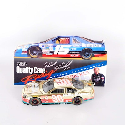 Signed Dick Trickle #15 Placard with #90 24K Plated Car