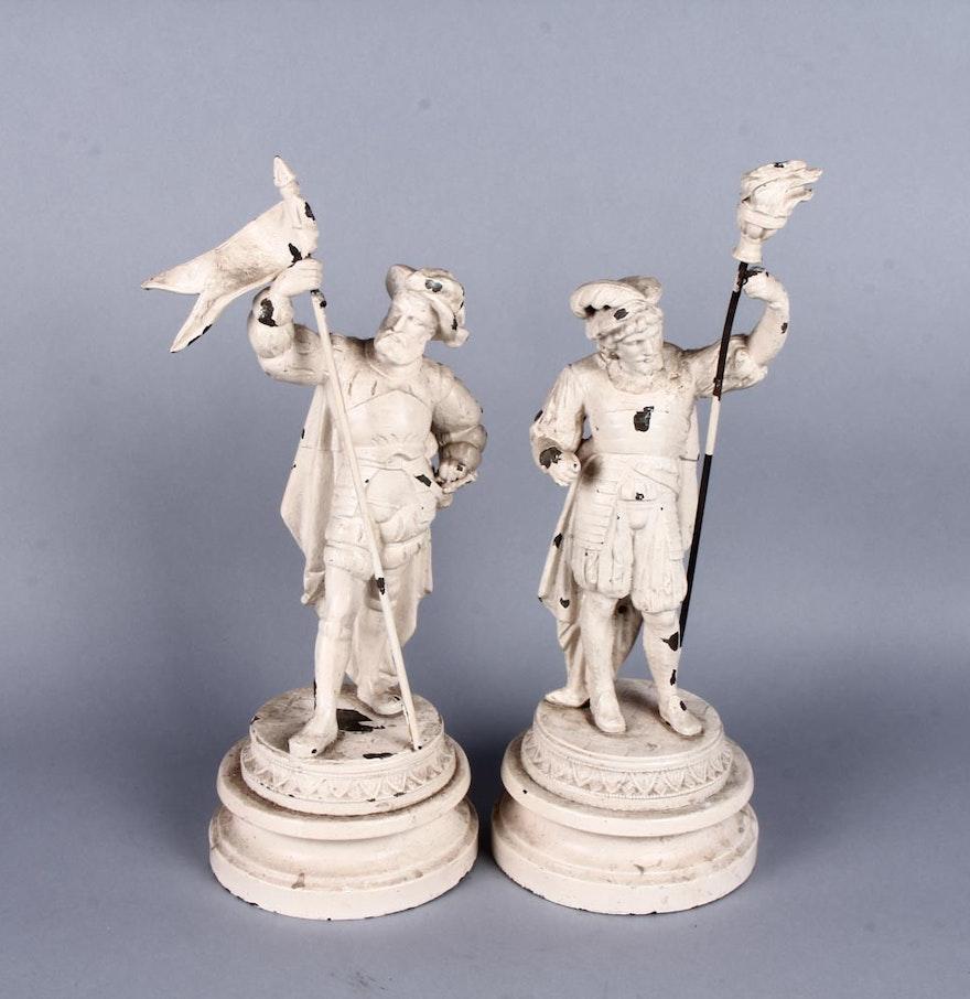 Wood and metal conquistador sculptures ebth