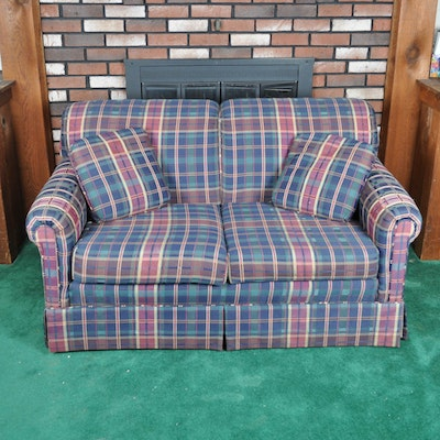 Brown Plaid Slipcovered Sofa Ebth