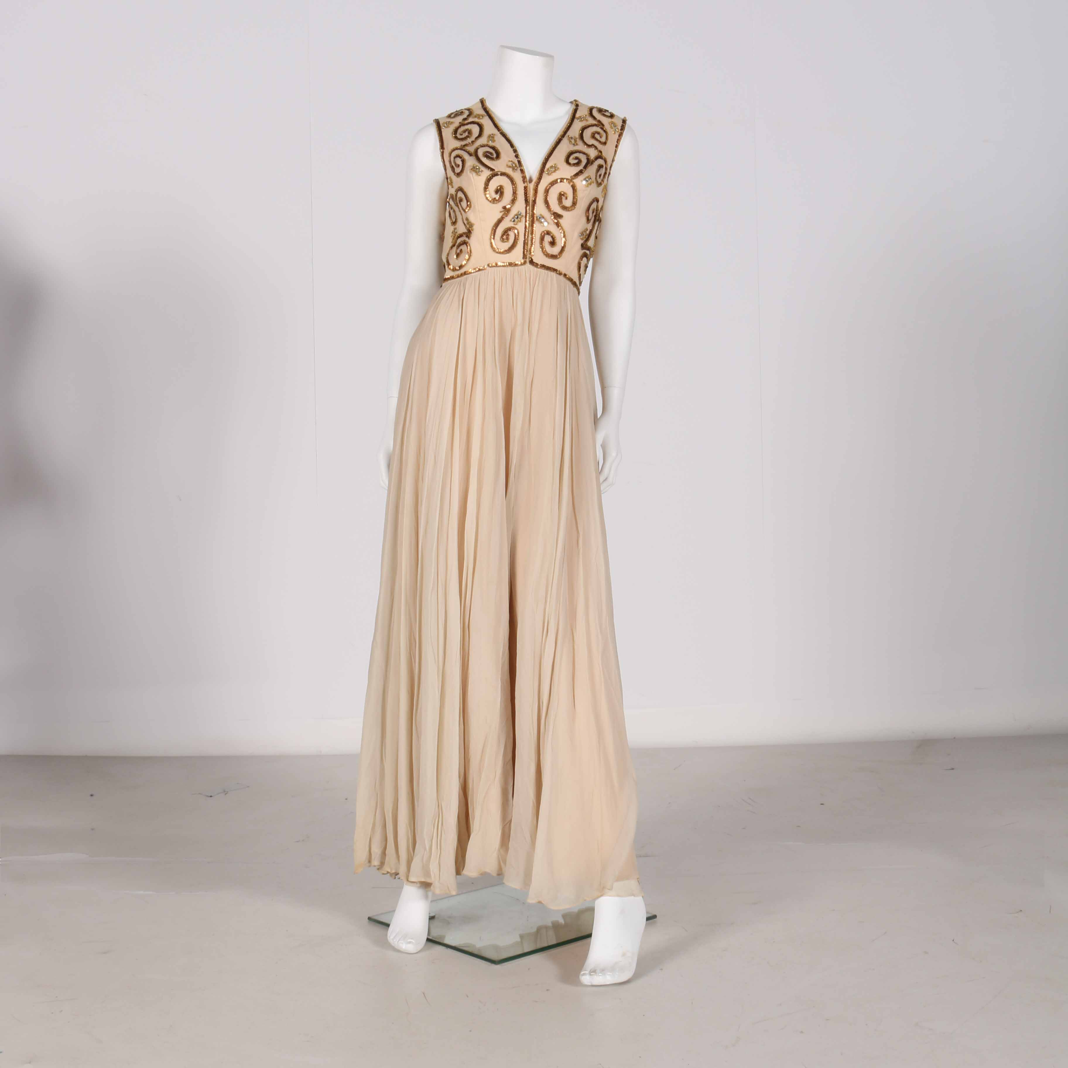 Circa 1970s Saks Fifth Avenue Beaded Evening Gown Ebth