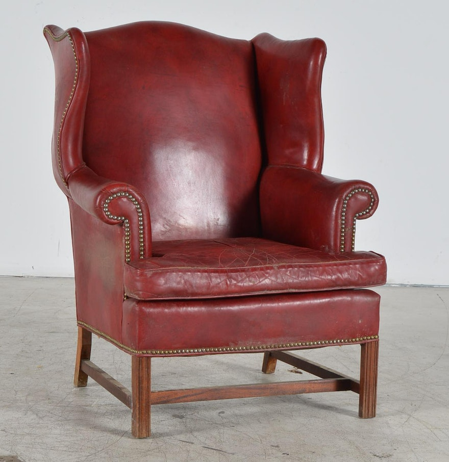 Old Hickory Tannery Leather Wingback Chair Ebth