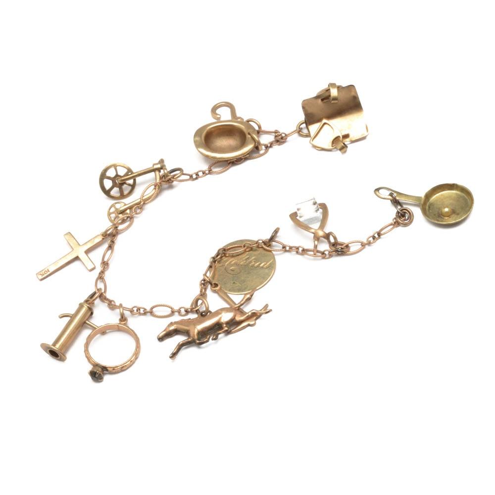 10k yellow gold vintage charm bracelet ebth