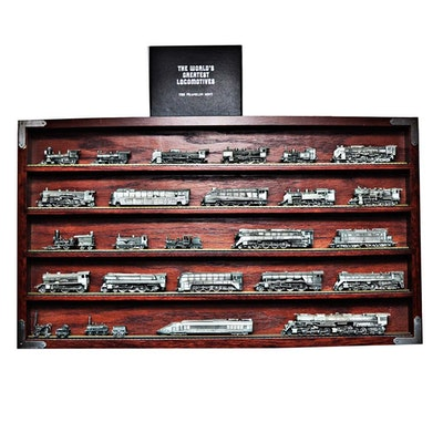 Franklin Mint Pewter Train Set in Case