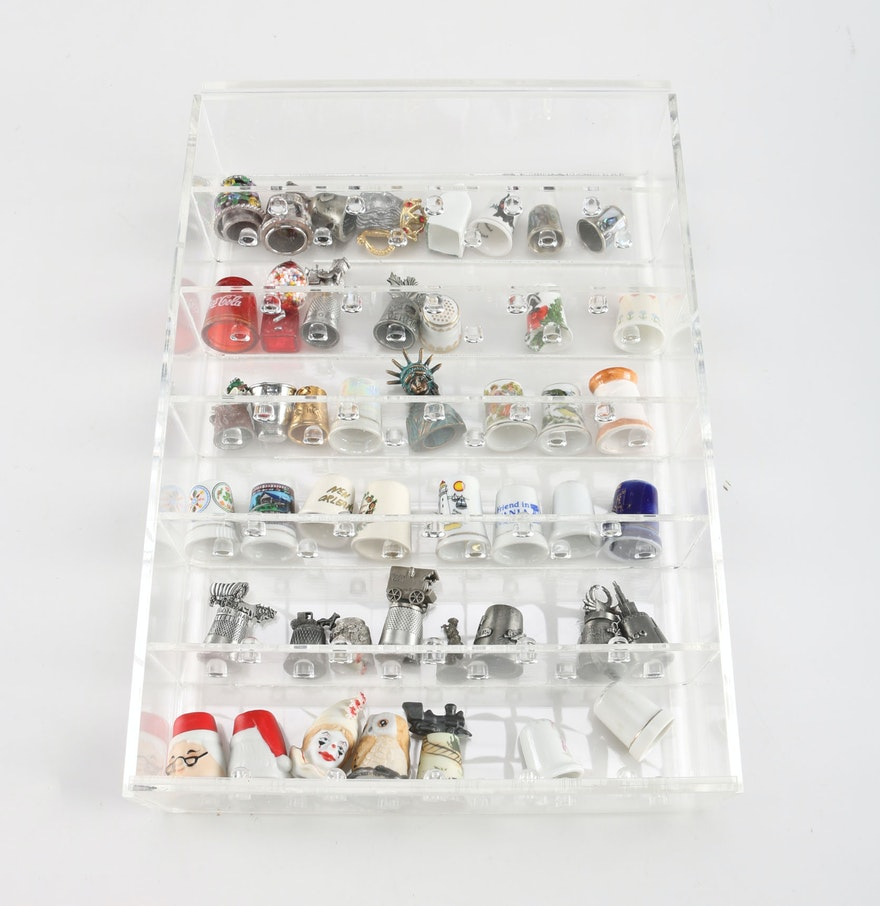 Decorative Display Cases Assorted Decorative Thimbles With A Clear Display Case Ebth