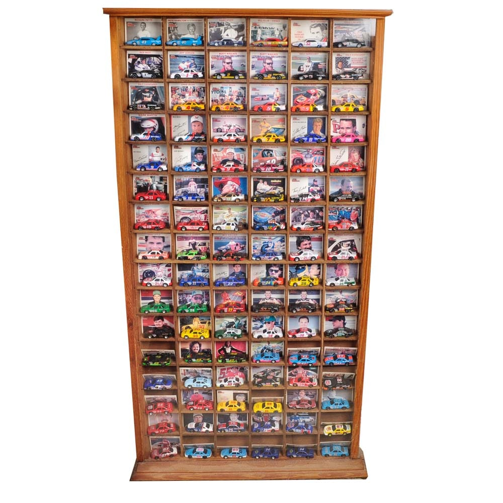 Display Case Of Nascar Cars With Trading Cards