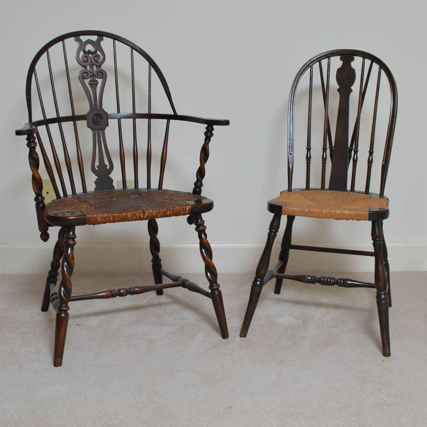 Antique Windsor Chairs With Rush Woven Seats Ebth