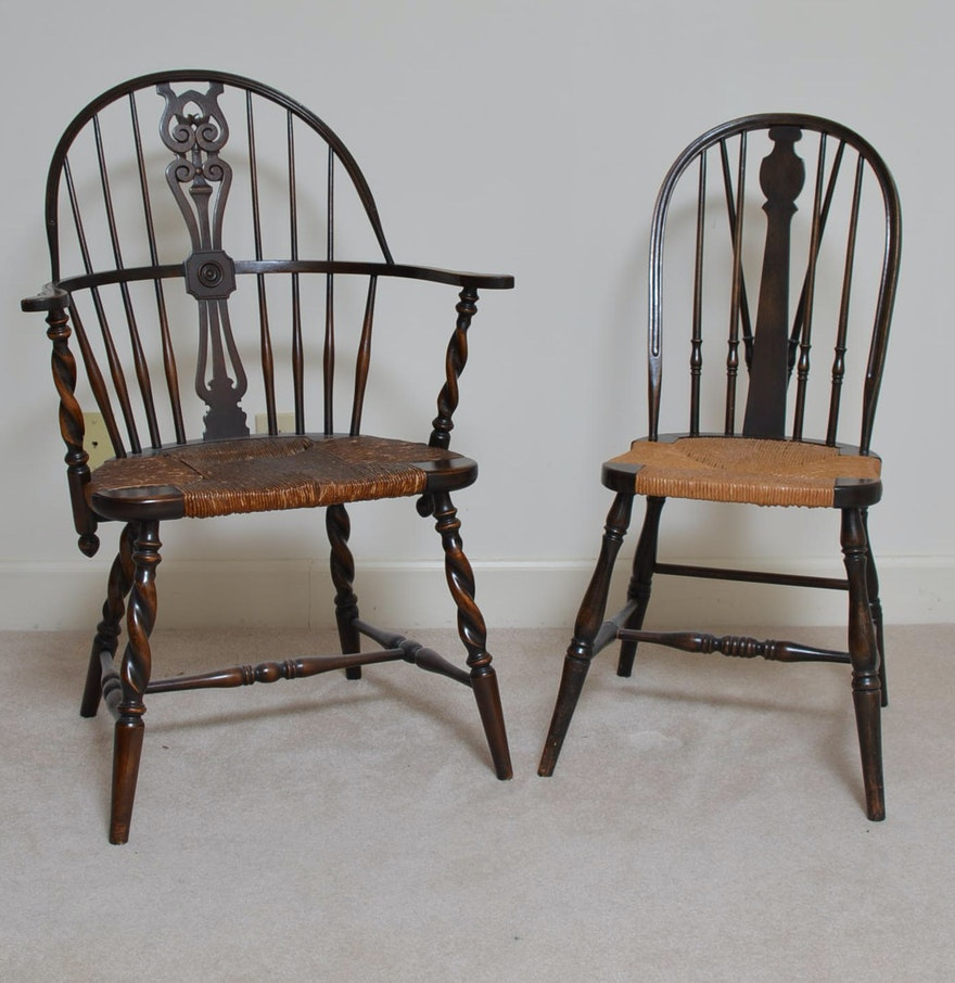 Antique Windsor Chairs with Rush Woven Seats ... - Antique Windsor Chairs With Rush Woven Seats : EBTH
