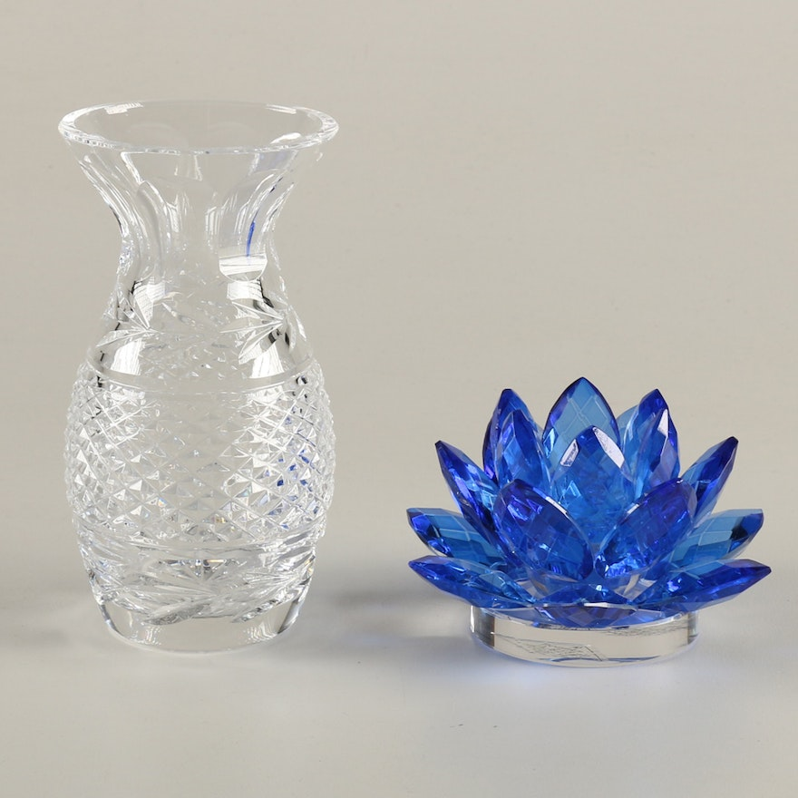 Shannon Crystal Lotus Candle Holder And Waterford Vase Ebth